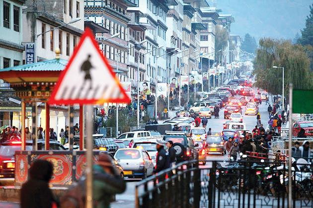 Traffic in Bhutan tour itineraries