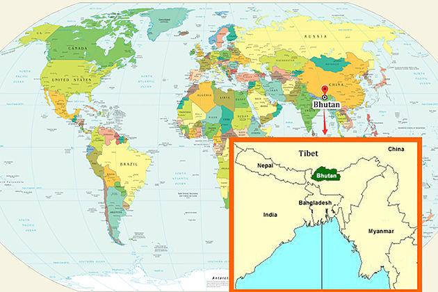 Map of Bhutan tour itineraries